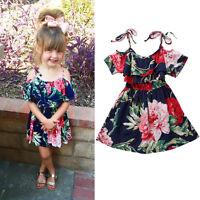 Summer Toddler Baby Girl Skater Dress Kid Floral Princess Party Dresses