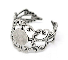 Ring Blanks Blank Rings Silver Ring Blanks Adjustable Rings Filigree Rings 2 pc
