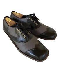 Vtg Freeman Men's Wingtips Shoes 10 B Black Gray Leather Square Toe Brogue