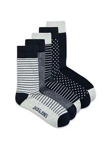Jack & Jones Herren Socken JACLIGHT GREY 5er Pack One Size Grau 72% Baumwolle