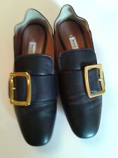 Bally Women's Leather Loafer Shoes EU 39 US 6.5 Gold Buckle Convertible Janelle