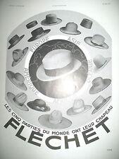 PUBLICITE DE PRESSE FLECHET CHAPEAUX DANS LE MONDE FRENCH ADVERTISING 1931
