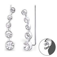 925 Sterling Silver Crystal Bar Ear Crawlers Sweep Up Earrings