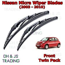 "(03-10) Nissan Micra Mk3 Front Wiper Blades Windscreen 21""18"" Hook Type Wipers"