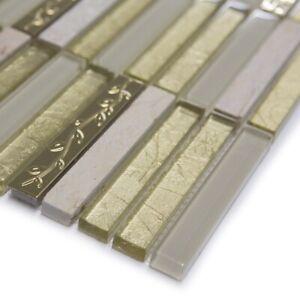 Golden Tulip Glass & Marble Mosaic Walls Floors Tiles Sheet Bathroom 30cm x 30cm