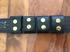 Vtg 4 Tex Shoemaker Plain Black Leather Police Duty Western Belt Keepers Brass