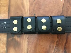 VTG 4 Tex Shoemaker Plain Black Leather Police Duty / Western Belt Keepers Brass