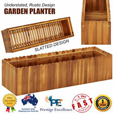 Wooden Garden Planter Outdoor Plants Herbs Flower Planting Bed Container Slatted