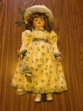 """Vintage Camelot 18"""" Porcelain Doll Umbrella Hat Pearls"""