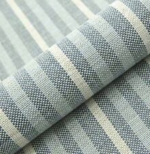 "10M PRESTIGIOUS SOFT THICK WOOL STRIPE UPHOLSTERY CURTAIN SKY BLUE FABRIC 54""W"