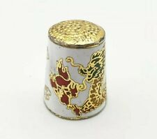More details for chinese dragon metal gold tone thimble gold white red yellow green