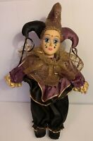 "Vintage-Collectible Harlequin Jester 19"" Doll  Purple-Black & Gold Outfit"