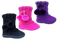 New Infant Baby Toddler Girls Pink Black Dress Winter Casual Boots Shoes sz 5-13