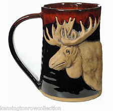"MUGS - ""MAJESTIC MOOSE"" HANDMADE POTTERY MUG - RED ON BLACK - 3/4 TANKARD"