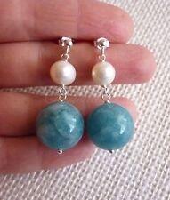 Orecchini argento 925 perle naturali bianche e angelite blu