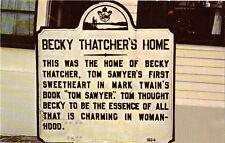 Becky Thatcher's Home Post Card Mark Twain SWEET!