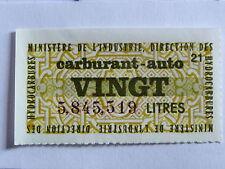 rare timbre vignette rationnement essence ,VINGT LITRES CARBURANT AUTO , 20 l