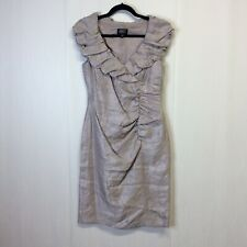 Adrianna Papell Womens Gold Metallic Sheath Party Cocktail Dress 8