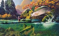 Rainbow trout S/N W Dowdy Art Lithograph bird Ducks Unlimited artist salmon