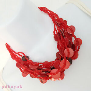 """Ladies Retro Style Red Shell Coin Bead Multi Strand Necklace 43cm 17"""" UK ~2799"""