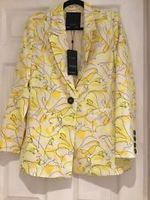 Selected Femme Yellow Patterned Jacket Sz 10 Bnwt