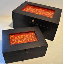Regency Rectangular Box Set 2pc Handpainted Lge. 26x18x11cm Small 13x18x8cm
