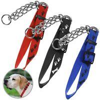 Pet Dog Thick Metal Chain Link Choker Collar Adjustable Nylon Strap Lead Leash