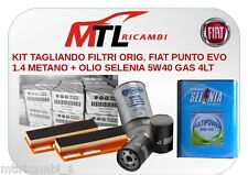 KIT TAGLIANDO FILTRI ORIG. FIAT PUNTO EVO 1.4 METANO + OLIO SELENIA 5W40 GAS 4LT