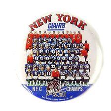 Vintage 1987 New York Giants Photo Football Pin Button Super Bowl XXI