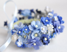 Handmade Corsages Blue Mulberry Paper Flowers, Special Day, Souvenirs, DIY