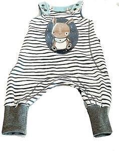 Süßer Strampler Jersey Häschen blau gestreift größe 62-68 Handmade*NeuUnikat