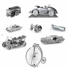 Set of 8 Metal Earth Vehicles Model Kits (Ford Cable Car Bicycle Locomotive etc)