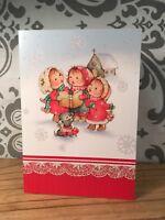 Vintage Glitter Christmas Greeting Card Little Girls Hallmark Caroling New NOS