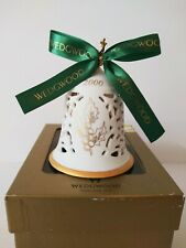 Wedgwood England 2000 Pierced Bell Christmas Ornament White/Gold Holiday Decor