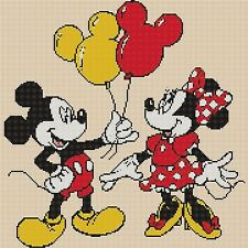 Disney Cross stitch chart - mickey mouse and minnie balloons Flowerpower37-uk