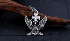 Edelstahl Anhänger  Deutscher Adler mit Eisernem Kreuz+Kugelkette 60cm AK20