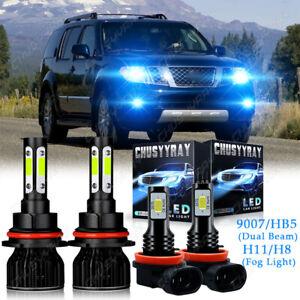 For Nissan Pathfinder 2005-2012 8000K LED Headlight Hi/Lo Beam + Fog Light Bulbs