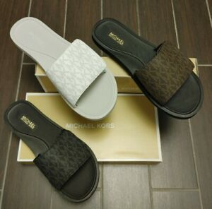 Michael Kors SLIDES Wade Adjustable MK Logo Sandals Chocolate White Black shoes