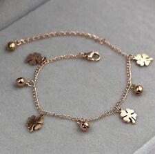 Stainless Steel 18K Rose Gold Clover Flower Bell Ankle Chain Bracelet Anklet NP