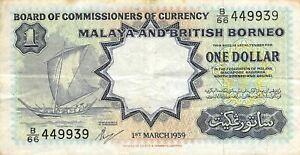 Malaya & N.B.  $1  1.3.1959  P 8A  Series  B/66 Circulated Banknote XLB