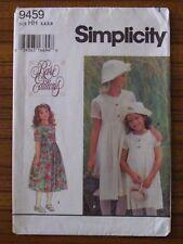SIMPLICITY PATTERN - 9459 GIRLS' DRESS CHILD LACE OVERLAY HAT 3 4 5 6 UNCUT