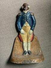 Antique Cast Iron Major Domo Black Americana Judd Mfg. Doorstop Sculpture #1249