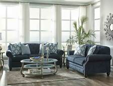 Traditional Living Room Couch Set Furniture NEW Blue Fabric Sofa Loveseat IG1K
