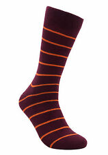 "Men Casual Seamless Cotton Socks ""Volcano"" by Rambutan Striped Burgundy, Red"