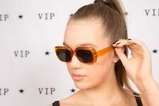 oversized vintage orange & black square Jacky O sunglasses 60s 70s mod