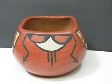 Vintage Pueblo Clay Pottery Seed Pot Signed Minnie Vigil Santa Clara Red