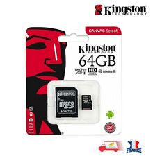 Carte Mémoire Kingston Micro SD 64 Go SDXC UHS-I 80MB/s + adaptateur 10 class