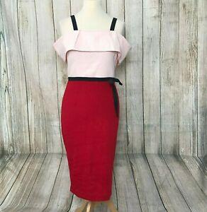 Beautiful Pink Red LINDY BOP 1950s Midi Pencil Bardot Dress Size 12