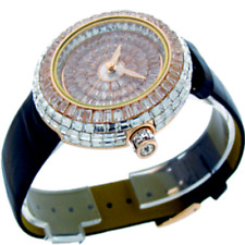 14k Rose Gold Custom Unisex Round Baguette Cut Leather Wrist Watch Simulated New