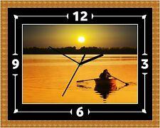 Barco de lago puesta de sol (2) Reloj Regalo Presente Navidad Cumpleaños (personalizable)